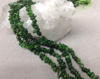 "6-7mm Chrome Diopside chips, 32"" long"