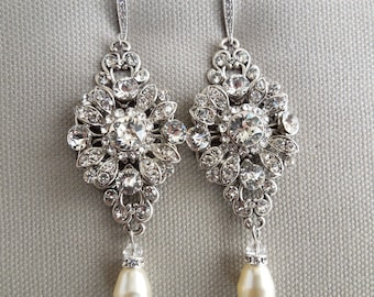 Pearl bridal Earrings wedding rhinestone earrings Bridal Pearl Earrings Swarovski Crystal Earrings Rhinestone Earrings dangle pearl COLLEEN
