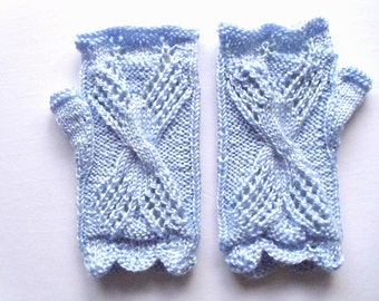 """Lace fingerless gloves. M size. Hand circumference 6""""-8"""" Acrylic yarn silky soft light blue color. Hand knit. Ready for shipping."""