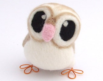 Barn Owl in Soft Beige Needle Felt Bird, Felt Owl Ornament
