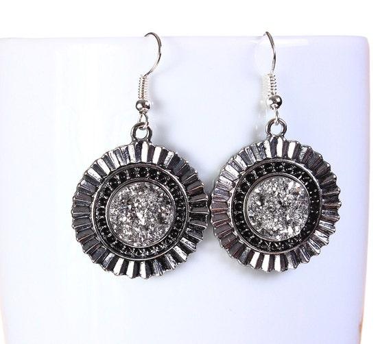 Antique silver faux dusy dangle earrings - Faux Druzy earrings - Textured earrings - Nickel free lead free earrings (796)