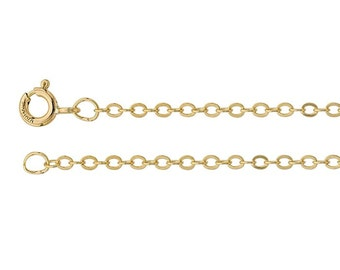 14/20 Yellow Gold-Filled 1.8mm Flat Oval Cable Chain, select your length
