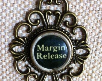 Typewriter key necklace / Margin Release key / shabby distressed typewriter key / bronze tone pendant