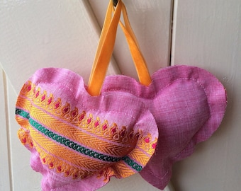 Hanging hearts, four, pink, pillow, sari, small, gift, recycled, handmade