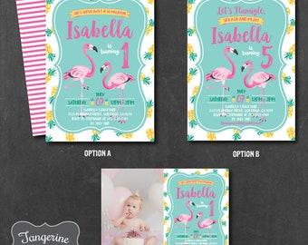 Flamingo Birthday Invitation, Pineapple Birthday Invitation, Birthday Invitation, Printable PDF File