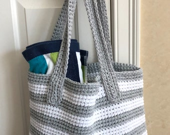 Crocheted large tote bag