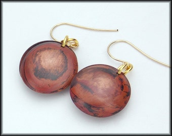 SHANA - Hanforged Flamed Double Domed Copper and 14KT GF Earrings