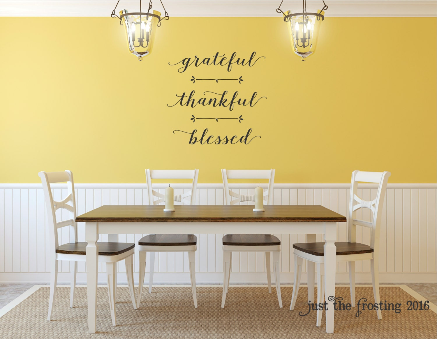 Grateful Thankful Blessed Wall Decal Kitchen Wall Decor