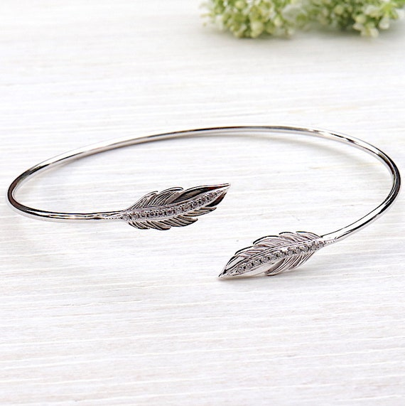 Bangle Silver 925 feather and zincons