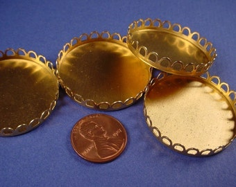 6 Brass Round Lace Edge Bezel Cups 35mm