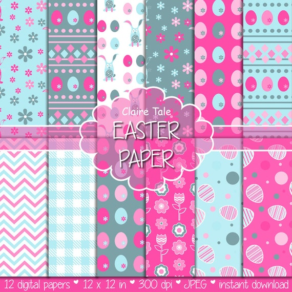 """Easter digital paper: """"EASTER PAPER"""" with easter eggs, bunnies, flowers, tulips, chevrons, gingham pattern in pink and blue"""