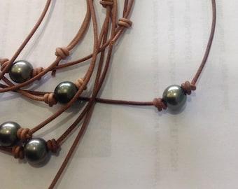 adjustable Tahitian pearl necklace