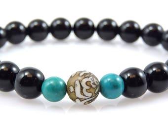 Black Onyx, Om Mani Conch Shell and Turquoise Wrist Mala CG-6
