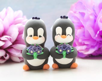 Same sex Penguin wedding cake toppers - personalized lesbian gay 2 brides or 2 grooms - homosexual pride girls women wedding gift purple