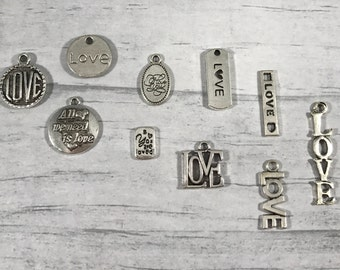 Love Charm. I LOVE YOU Charm. You Are Loved Charm. All We Need Is Love Charm. Charm for Bracelet. Charm for Necklace. Love Add on Charm.