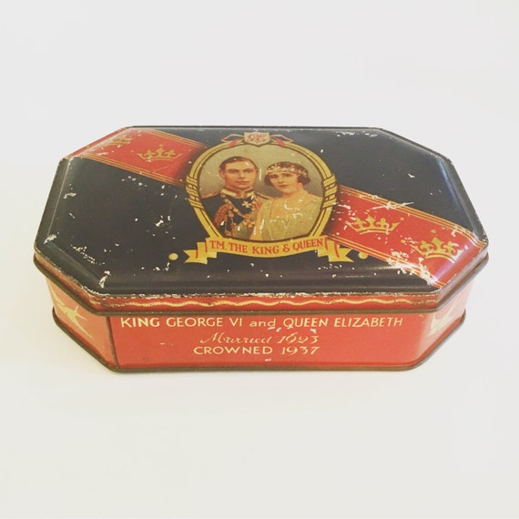 Antique King George VI and Queen Elizabeth Blue Bird Toffee Coronation Collectible Tin Circa 1937