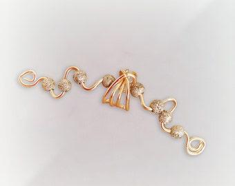 Gold Ear Cuff 24K Gold Plated Glitter Gold Large Ear Wrap