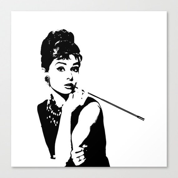 Audrey Hepburn Black And White Stencil