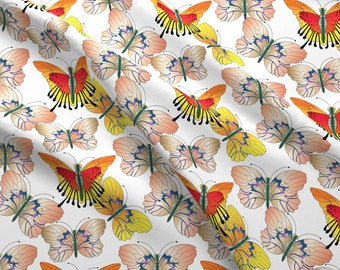 Orange Butterflies Fabric - Oyster Yellow And Red Butterflies By Designsld - Orange Butterflies Cotton Fabric By The Yard With Spoonflower