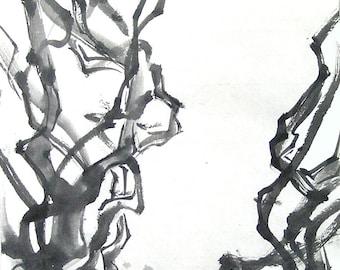 Twisting Branches Original Brush Painting