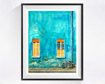 Watercolor Painting, Italian Landscape, Bike, Teal wall art, Original painting, Urban Landscape, Bright color, Office Wall Decor, Teal Art