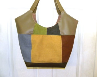 Vinyl upholstery sample patchwork upcycled tote