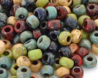 Seed Beads-11/0 Round-011 Hybrid Mix Opaque Picasso-Miyuki-16 Grams