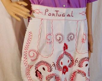 Vintage Apron Embroidered Apron Portugal Souvenir Apron Red and White Half Apron