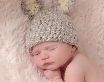 Baby Bunny Hat,  Newborn Grey Bunny Hat, Baby Easter Hat, Newborn Easter Hat,  Crochet Baby PHOTO PROP