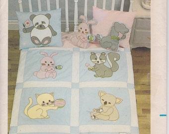 Baby Quilt Pattern Applique Animals Bear Bunny Squirrel Koala Bear Poodle Kitten Uncut Butterick 3373