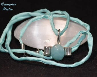 Genuine amazonite and Sterling Silver 925 pendant