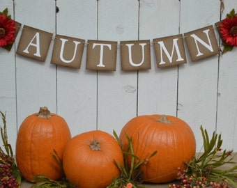 Autumn Banner  ..  Fall   ..  Sign  ..  Decoration ..  Thanksgiving  ..  Harvest . rustic fall decoration