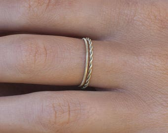 The delicate - Guitar string jewelry-guitar string - musician - music - minimalist - stackable ring - gift for her - braid