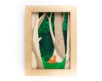 """Framed Cut Paper Illustration of a Trio of Ents (5x7"""")"""