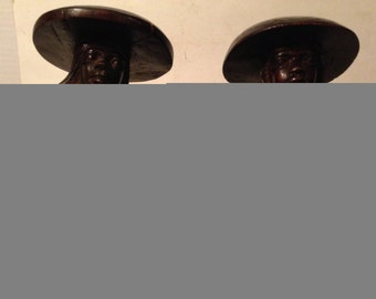 Vintage Man and Woman Wood Bookends African Asian Wood Carved Unique