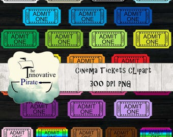 Rainbow Cinema Tickets Clipart pack - movie tickets clip art - carnival tickets- theater tickets - show tickets - admit one - multi color