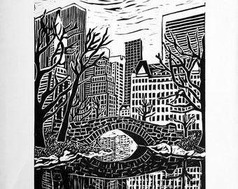 Central Park New York linocut print