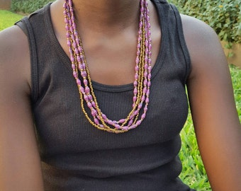 The Ritah // Purple // Triple-Strand Paper Bead Necklace // Made in Uganda