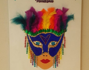 Mardi Gras Feather and Bead Mask Art