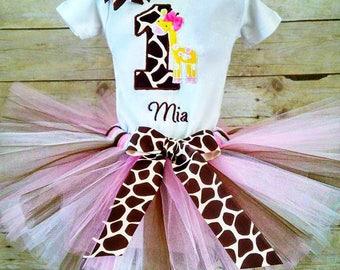 Giraffe 1st Birthday Tutu Outfit, Giraffe Shirt, Giraffe Birthday Party, Cake Smash