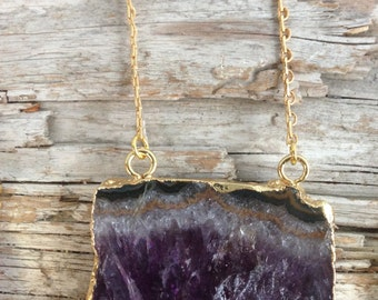 Amethyst Crystal Pendant Necklace