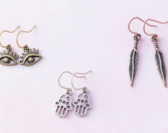 Boho Evil Eye Hamsa Hand Feather Charm Earring Set, Spiritual Jewelry, Trendy Jewelry..