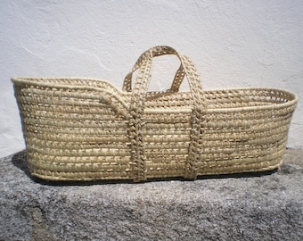 Moses Basket-Palm Leaf Baby Moses Basket- You can choose the option with foam lined mattress - Handwoven baby basket-Cribs and Cradles