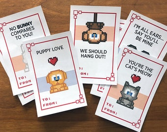 Bit Figs Valentine's - Printable Pixel Art DIY Valentine's Day Cards [Retro video games, Atari, Nintendo, Minecraft, cute animals]