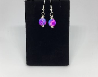Pink, Blue, and Purple Marbled Glass Single Bead Earrings