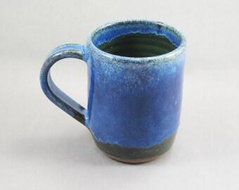 Pottery Coffee Mug Rutile Blue - Green To Black CHUNGTB50