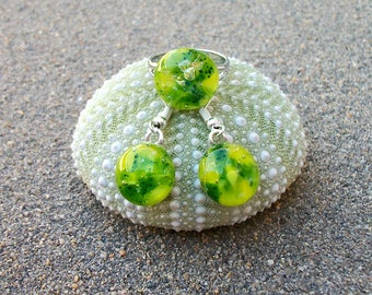 Yellow and Green Fused Glass with Dichroic Sparkles Earring and Ring Set