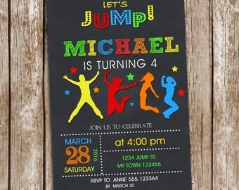Jump Invitation Birthday Printable, Trampoline Invitation, Bounce House Invitation, Bounce Party, Jump Party, Trampoline Party, Chalkboard