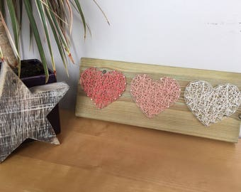 3 Hearts String art, home decor, gift.