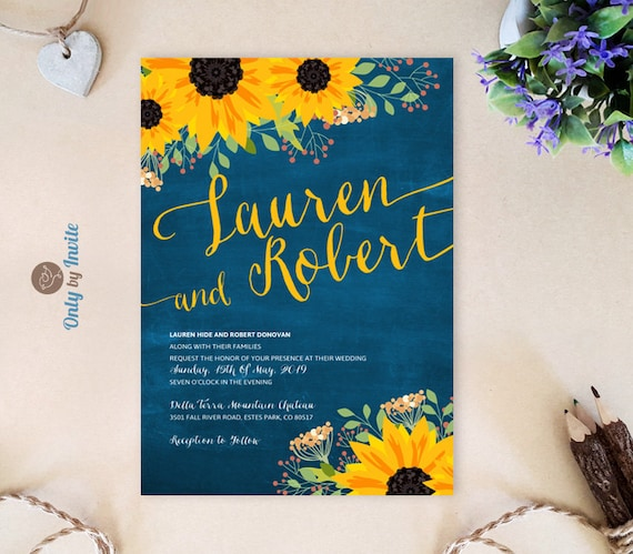 Cheap Rustic Wedding Invitations: Sunflower Wedding Invitation Cheap Chalkboard Wedding Cards